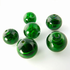 Vintage translucent green swirled glass rounds. Japan 9-10mm Pkg of 10. b11-gr-1030