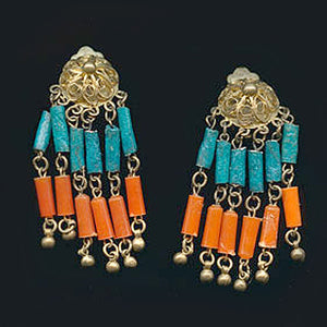 1920s Egyptian Revival brass & faience bead parure. nlad858