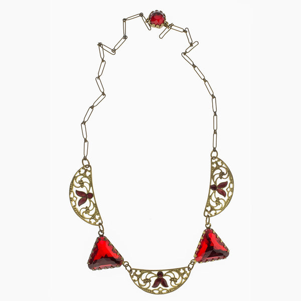 nlad884(e)- Art Deco necklace of red Vauxhall style glass and enamel gilt brass filigree.