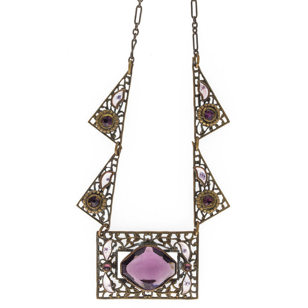 nlad887(e)- Art Deco Czech purple amethyst glass and rhinestone white enamel brass filigree necklace.