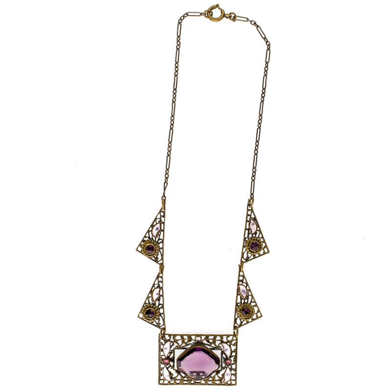 Art Deco Czech purple amethyst glass and rhinestone white enamel brass filigree necklace. nlad887