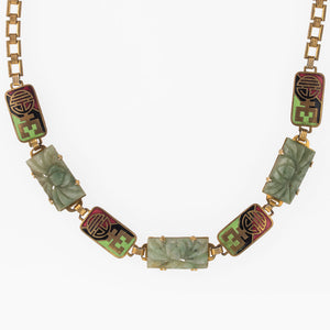 Vintage Art Deco carved green onyx and cloisonne enamel link necklace. nlad894