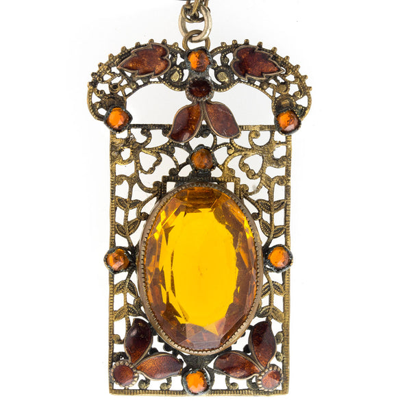 nlad896(e)-Antique Art Nouveau Bohemian brass filigree pendant necklace with enamel and amber glass stones.