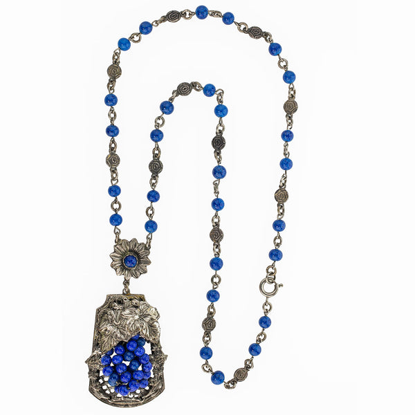 nlad902(e)- Vintage lapis glass and silver metal grape and leaf floral cluster lavaliere necklace c. 1920's-30's. Czechoslovakia