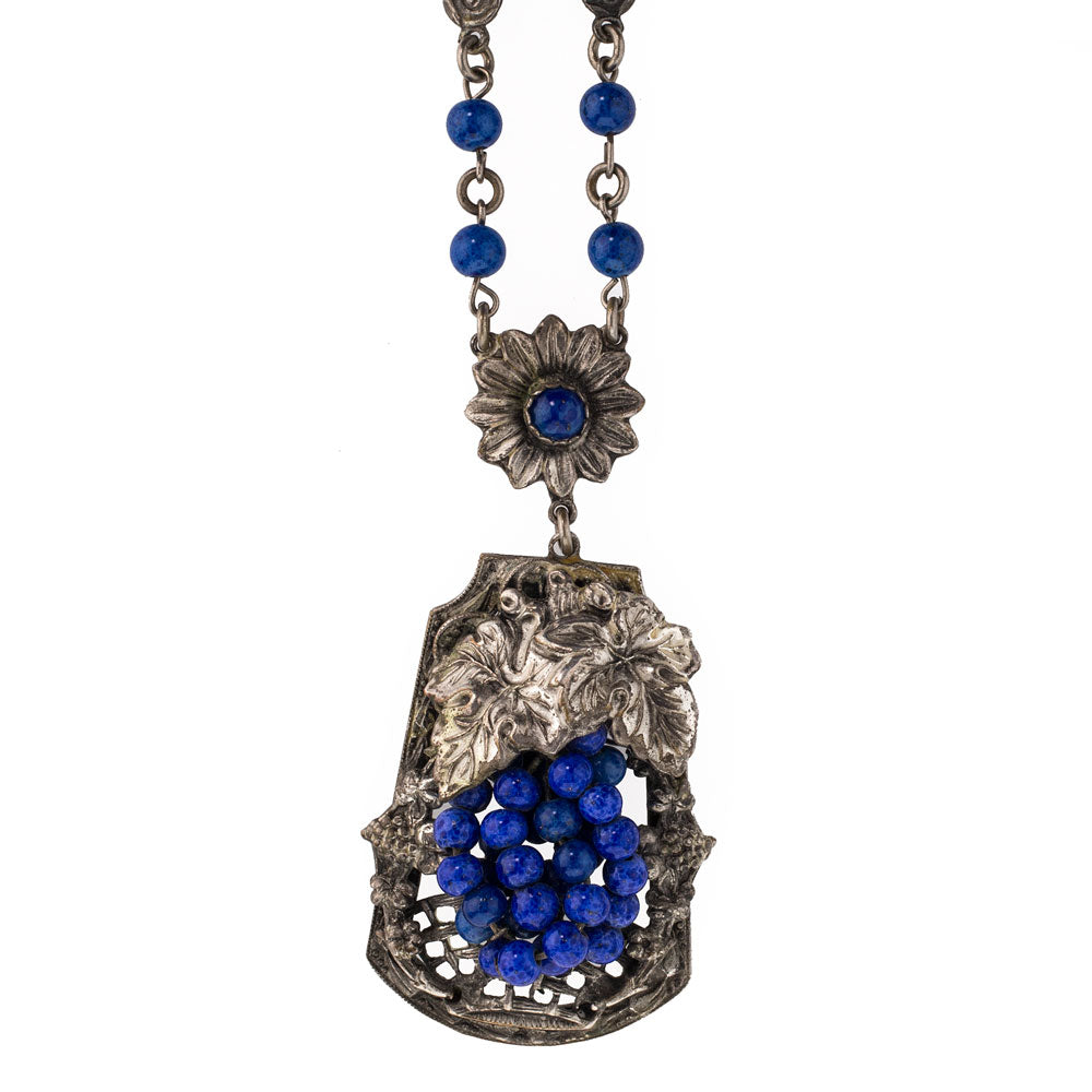 Vintage lapis glass and silver metal grape and leaf floral cluster lavaliere necklace c. 1920's-30's. Czechoslovakia. nlad902e