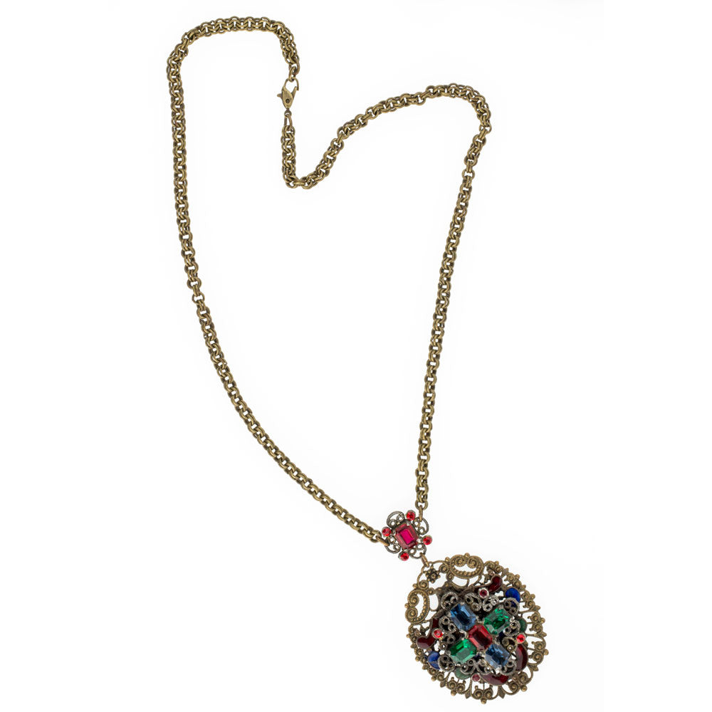 Antique Bohemian brass filigree lavaliere necklace with multi-color glass stones and enamel. nlad903