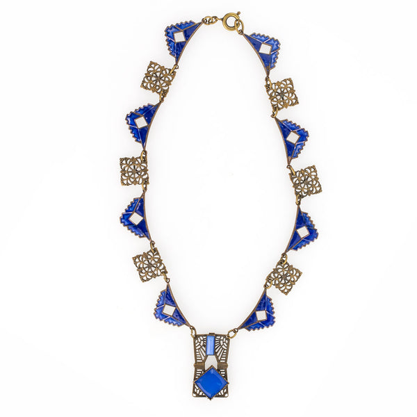 nlad905(e)-Vintage Art Deco geometric brass filigree, blue enamel and blue glass pendant necklace c. 1920's.