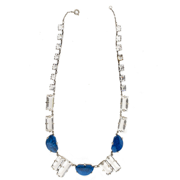 nlad906(e)- Vintage Art Deco stepped crystal and lapis glass necklace.