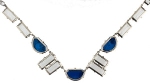 Vintage Art Deco stepped crystal and lapis glass necklace. nlad906