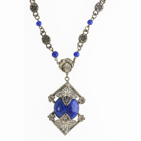 nlad909(e)-Antique Bohemian lapis glass and silver metal lavaliere necklace. c. 1915