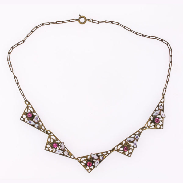 Art Deco pink rhinestone and enamel brass filigree necklace. nlad913(e)