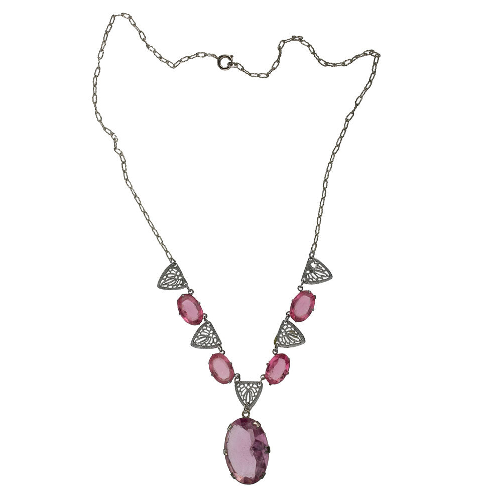 1930s Art Deco rhodium plated filigree and rose pink faceted glass drop necklace. nlad914