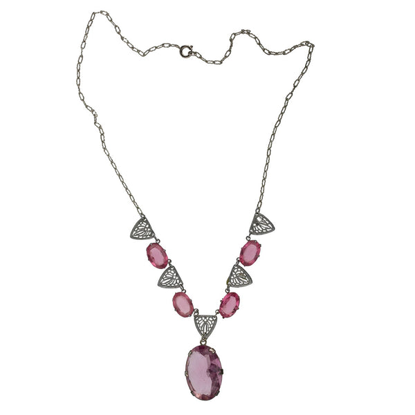 1930's Art Deco rhodium plated filigree and rose pink faceted glass drop necklace. nlad914(e)