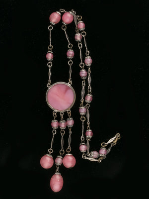 Vintage 1920's-30's Art Deco Czech satin pink glass and silver metal tassel lavaliere necklace. nlad920(e)