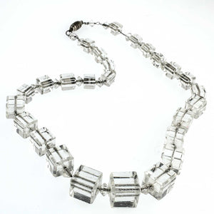 Art Deco 1920's graduated crystal cube necklace. nlad926
