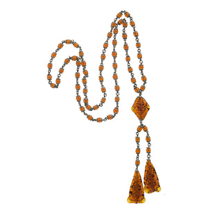 Vintage Art Deco amber glass negligee necklace Czechoslovakia. nlad958