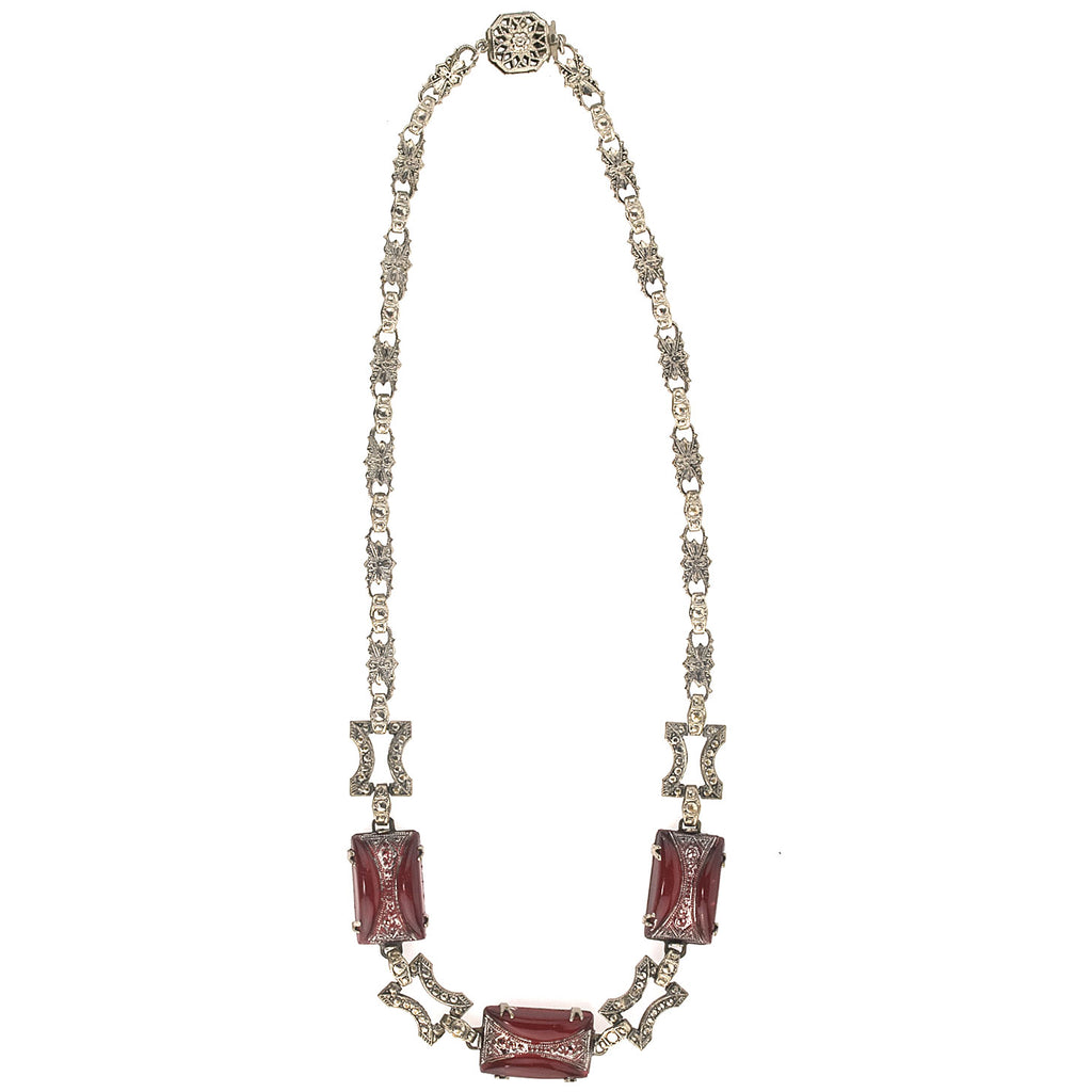 1920s Art Deco chrome plated metal link necklace with pressed carnelian glass stones. nlad959