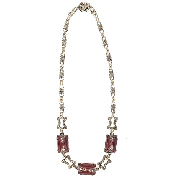 1920's Art Deco chrome plated metal link necklace with pressed carnelian glass stones. nlad959(e)