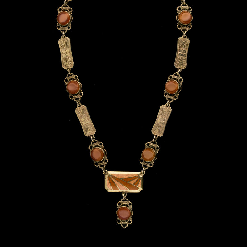 Art Deco enamel, gilt metal link and carnelian glass stone necklace. 1920s.  nlad964