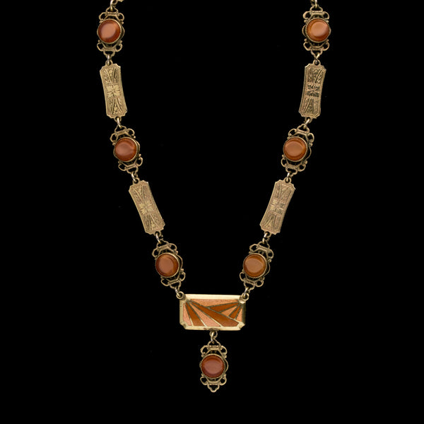 Art Deco enamel, gilt metal link and carnelian glass stone necklace.. 1920s.  nlad964
