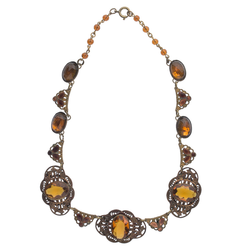 Art Deco bezel set amber glass, enameled brass and stamped brass brass filigree link necklace. Czechoslovakia. nlad969