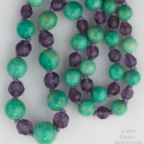 nlbd1005(e)-Vintage Amazonite and Amethyst glass necklace with 14k white gold clasp
