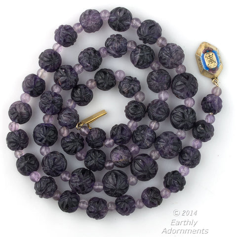 nlbd1049(e)- Vintage deep carved purple amethyst bead necklace Chinese