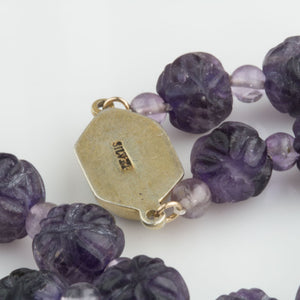 Vintage deep carved purple amethyst bead necklace Chinese. nlbd1049