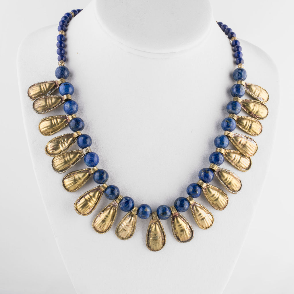 Ancient Egyptian reproduction necklace of fine Lapis Lazuli beads and Ethiopian gold-washed scarabs nlbd1070