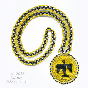 "Vintage Native American beaded Thunderbird pendant necklace with woven  bead strap.  30"" length.  nlbd1075"