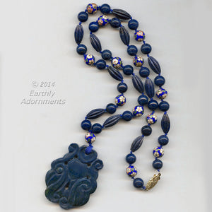 nlbd1121(e)- Vintage carved lapis and cloissone bead necklace.