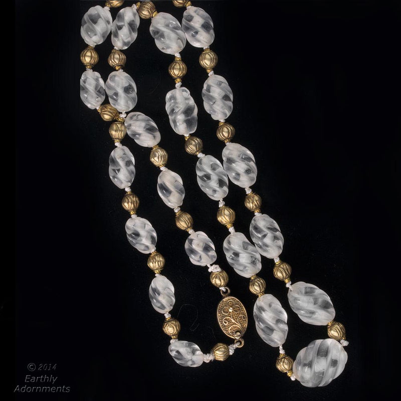 Necklace of vintage carved quartz crystal beads and 18k gold vermeil beads. nlbd1137(e)-