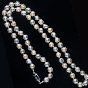 Vintage Japanese glass champagne and silver baroque pearl necklace with filigree clasp. nlbd1165