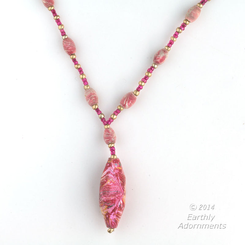 Necklace with rare Czech Ballotini beads. nlbd1166e