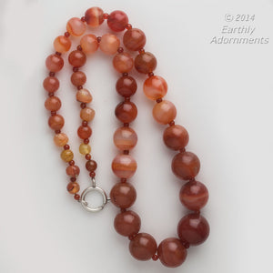 Vintage Carnelian agate large bead opera length necklace. nlbd1167