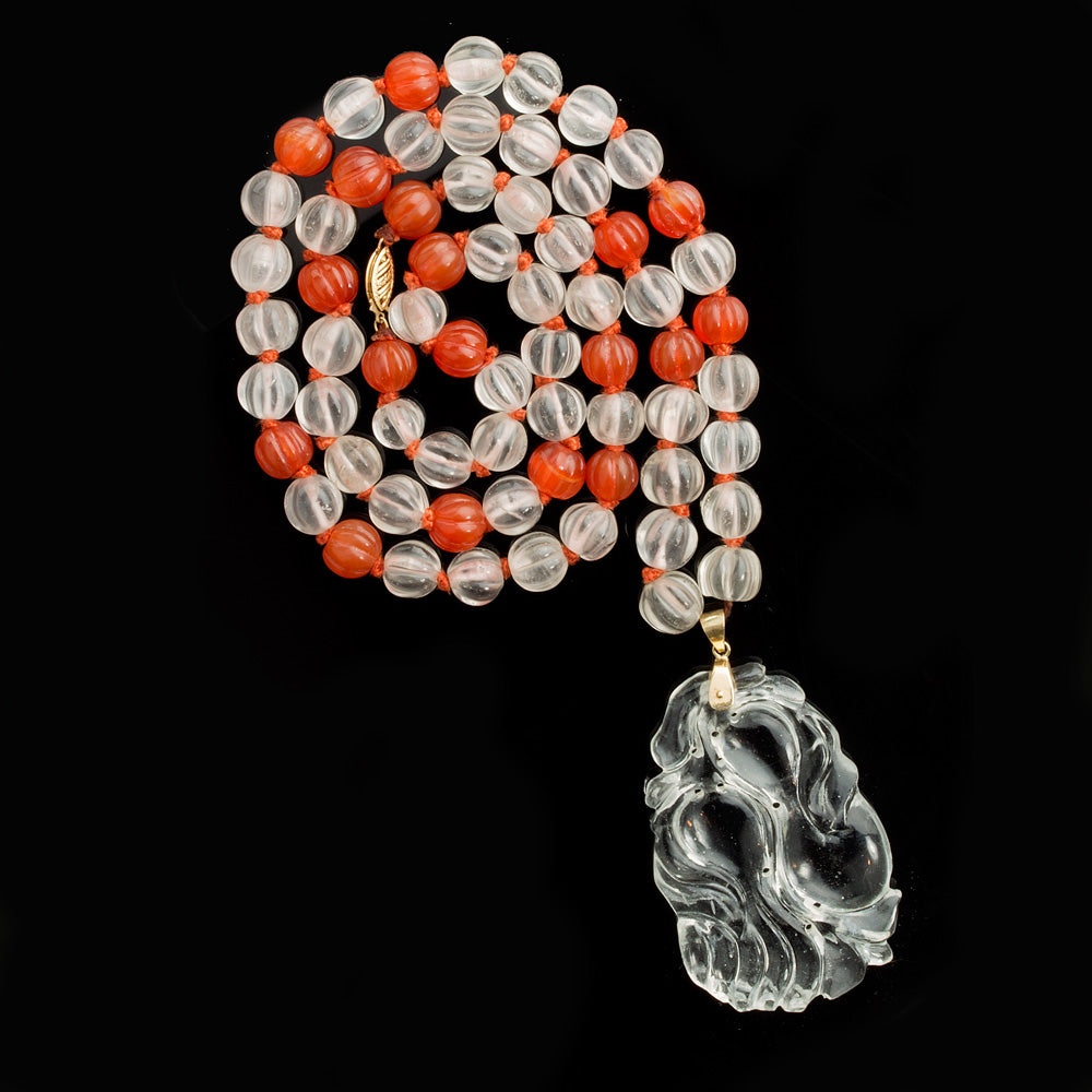 Mid-century carnelian and rock crystal quartz pendant necklace. nlbd1183e