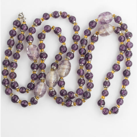 nlbd1185(e)-Vintage amethyst crackle glass bead necklace
