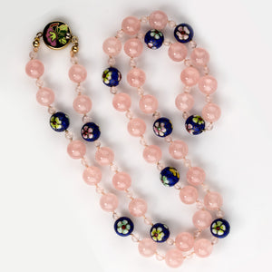 Vintage rose quartz and cloisonne hand knotted necklace. nlbd1198