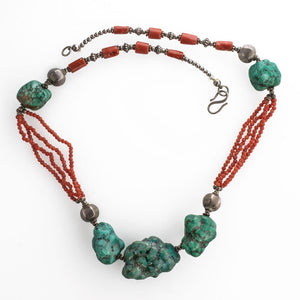 Old Tibetan necklace, large natural matrix turquoise beads, sterling silver beads, Mediterranean coral.nlbd1205cs