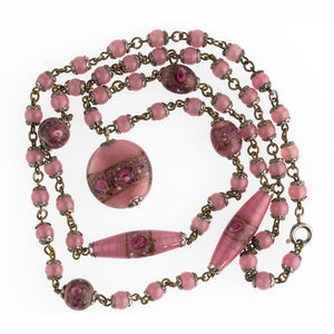 Art Deco 1920's Bohemian satin art glass flower bead necklace. nlbd1206(e)