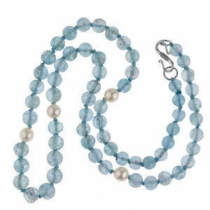 nlbd1213(e)- Vintage slightly graduated aquamarine and Akoya pearl necklace, with sterling silver s clasp.