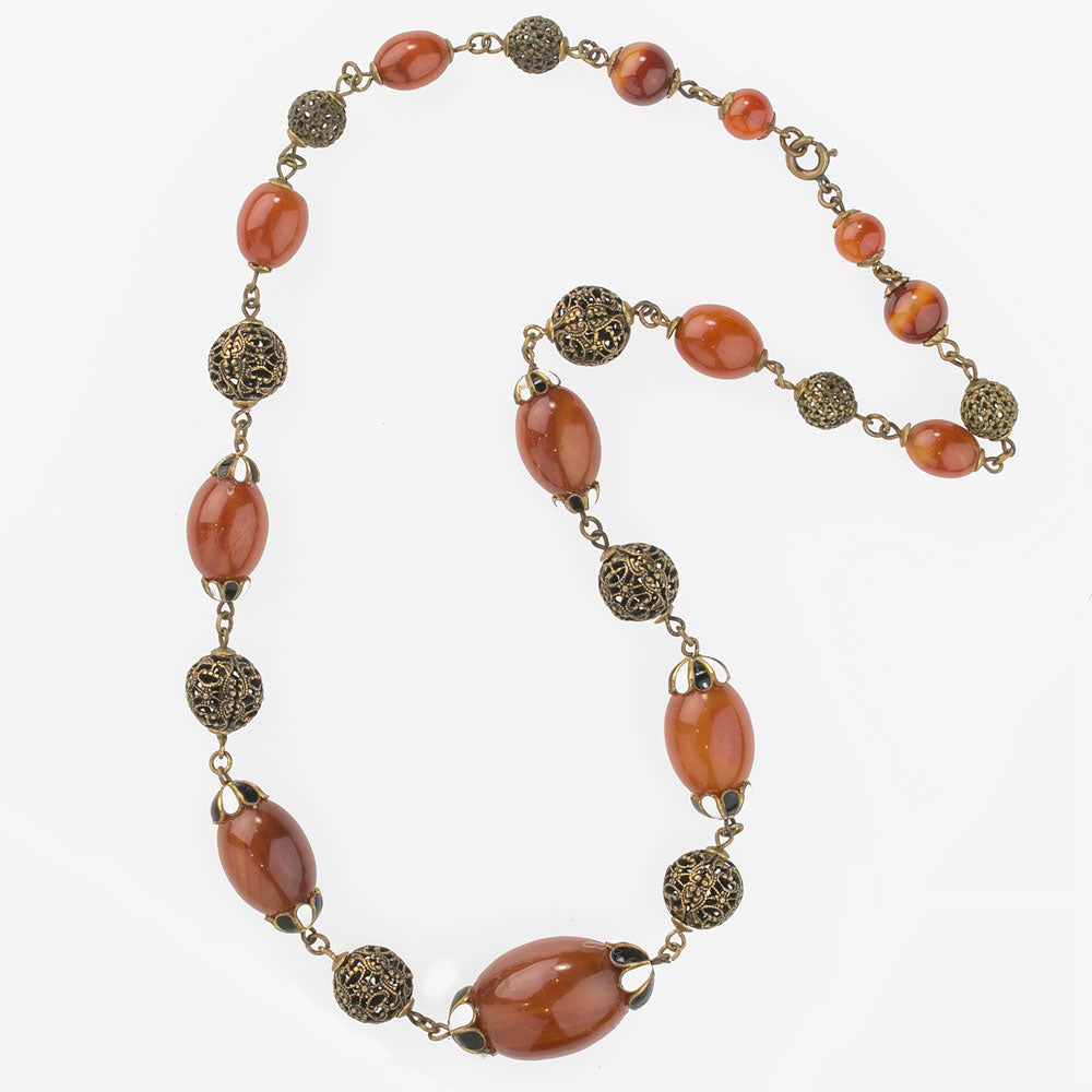 1930s Vintage  Carnelian Stone  Link Bracelet Set on Point Open Work w Brass Groved Domes Silver Plated Ornate Filigree Linked  Only  89.90
