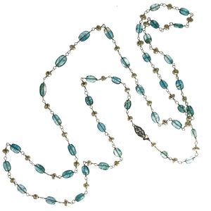 Vintage necklace of high quality slightly graduated aquamarine ovals and Japanese freshwater pearls on sterling silver wire. nlbd1219