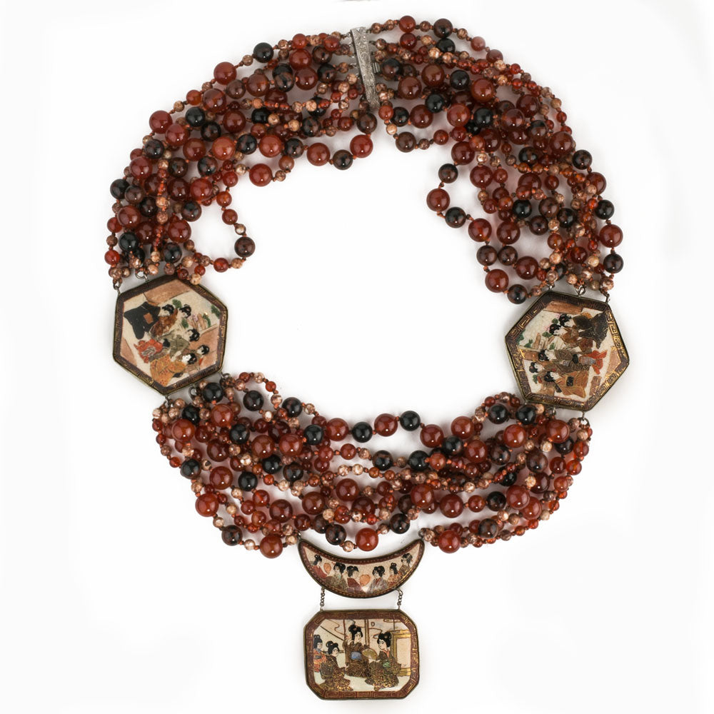 nlbd1222-Antique Satsuma and gemstone bead fantasy necklace, vintage designer piece