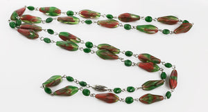nlbd1223(e)-Vintage hand made molded givre glass bead necklace c. 1930s to 1940s