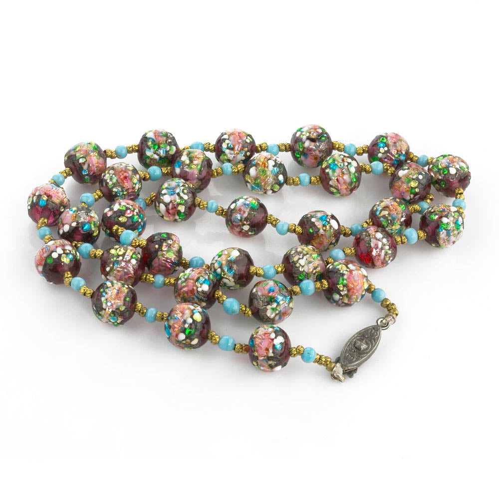 Exquisite rare antique Venetian flower bead foiled lampwork bead necklace. nlbd1224e