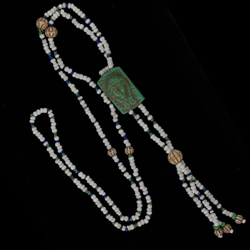 Vintage Egyptian Revival Czech bead necklace. nlbd1226
