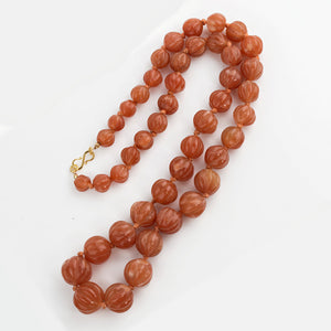 Vintage Chinese Export hand carved red Aventurine melon bead necklace. nlbd1227