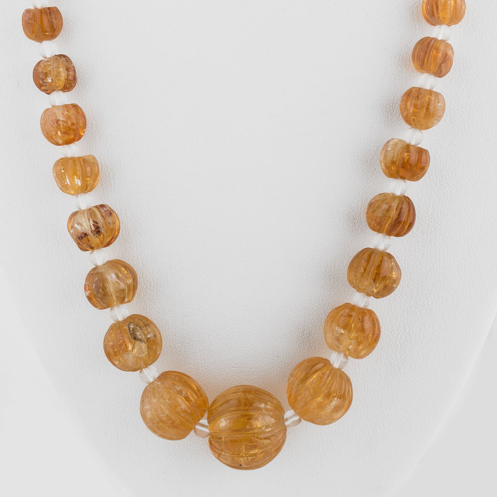 Old natural large carved fluted India citrine bead necklace with quartz crystal spacers. nlbd1231e
