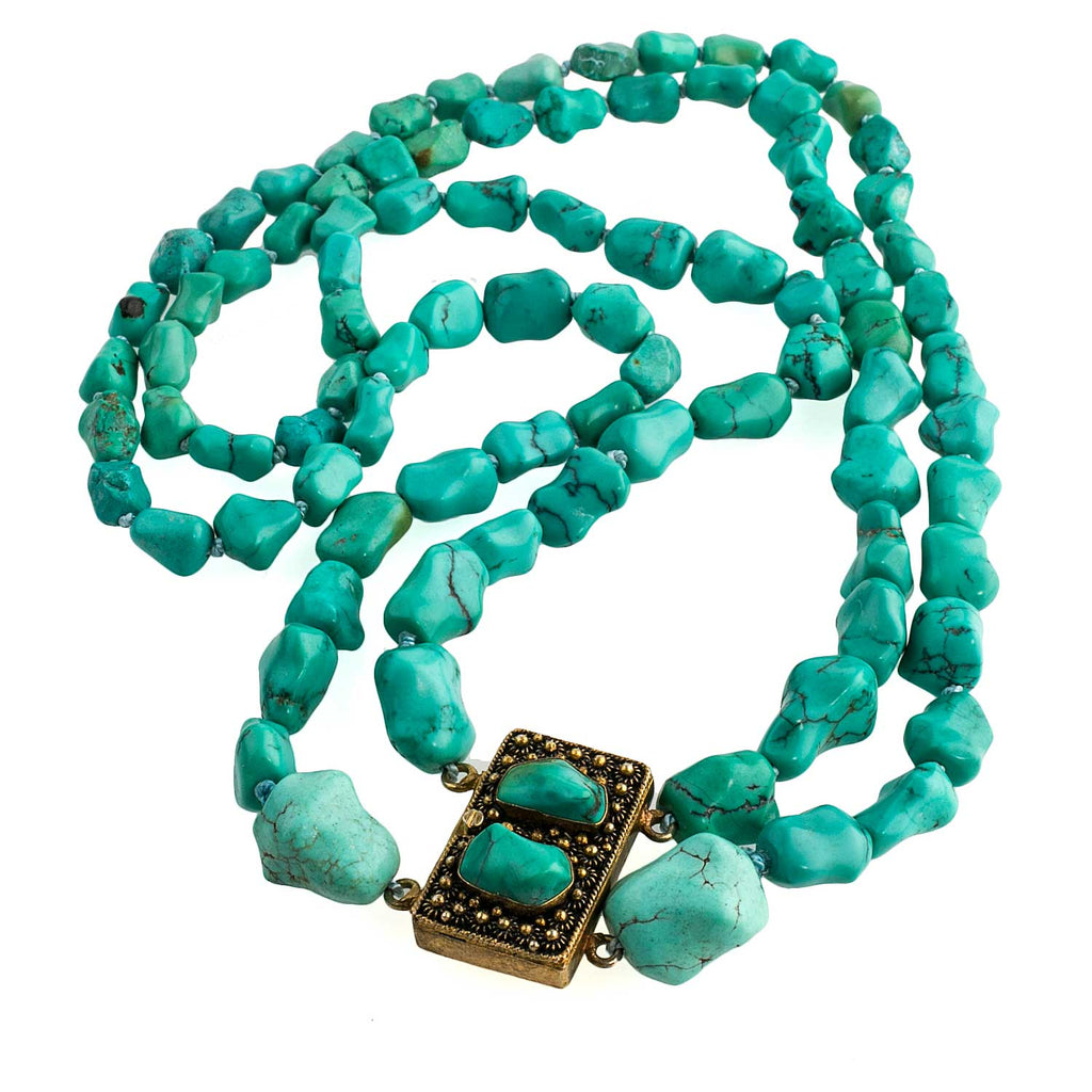 Vintage double strand necklace of Chinese knucklebone turquoise sterling vermeil and turquoise fancy box clasp pendant. nlbd1236(e)